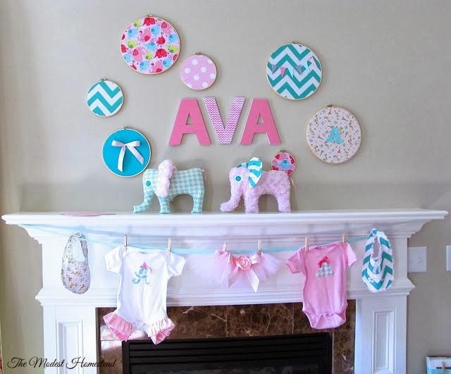 pink and aqua elephant baby shower