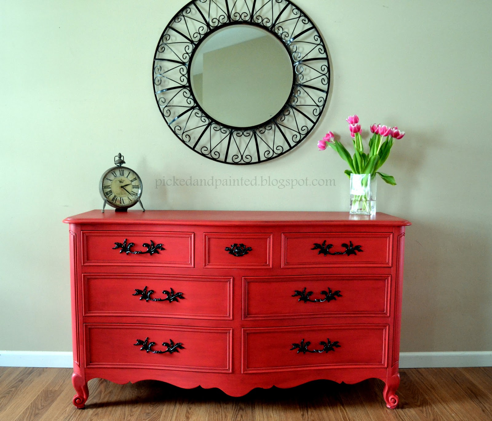 Helen Nichole Designs: Custom Dresser Set In Burnt Red