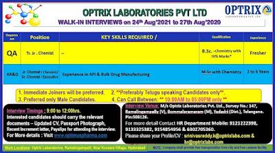 Optrix Laboratories jobs careers in Hyderabad