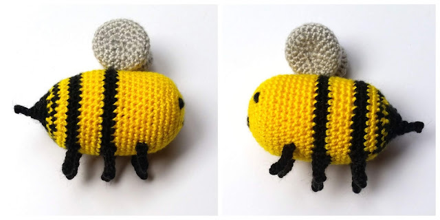 Bee Number Three. A collage showing two different side views of Bee Number Three.  In each photo the bee is facing the centre with the stinger pointing to the outside edge of the collage.  The body is yellow with two thick black stripes across the rear half and a thin black stripe closer to the black stinger end.  The six legs attached to the underside in two lengthways rows of three are black. The wings are silver.