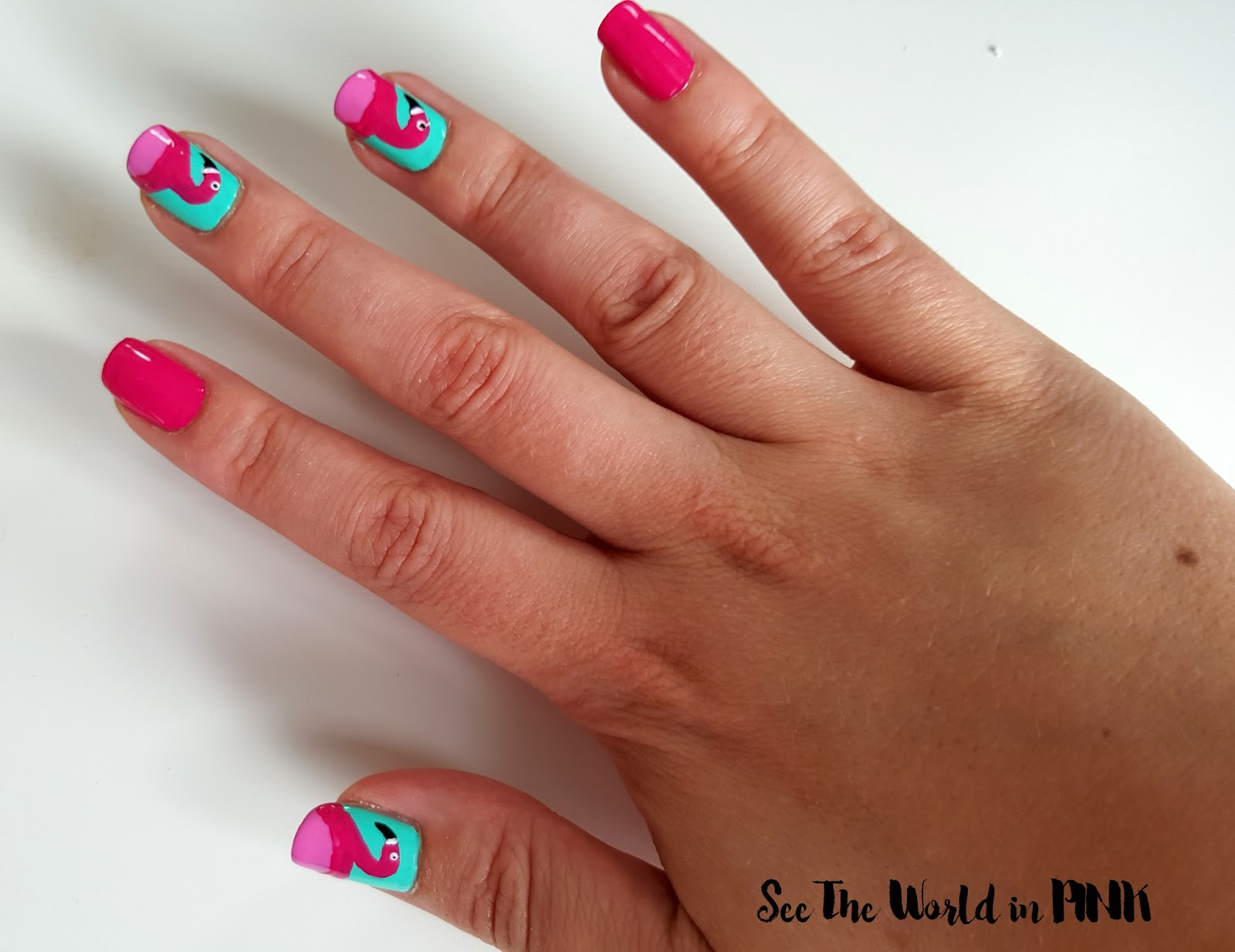 flamingo nail art how to tutorial