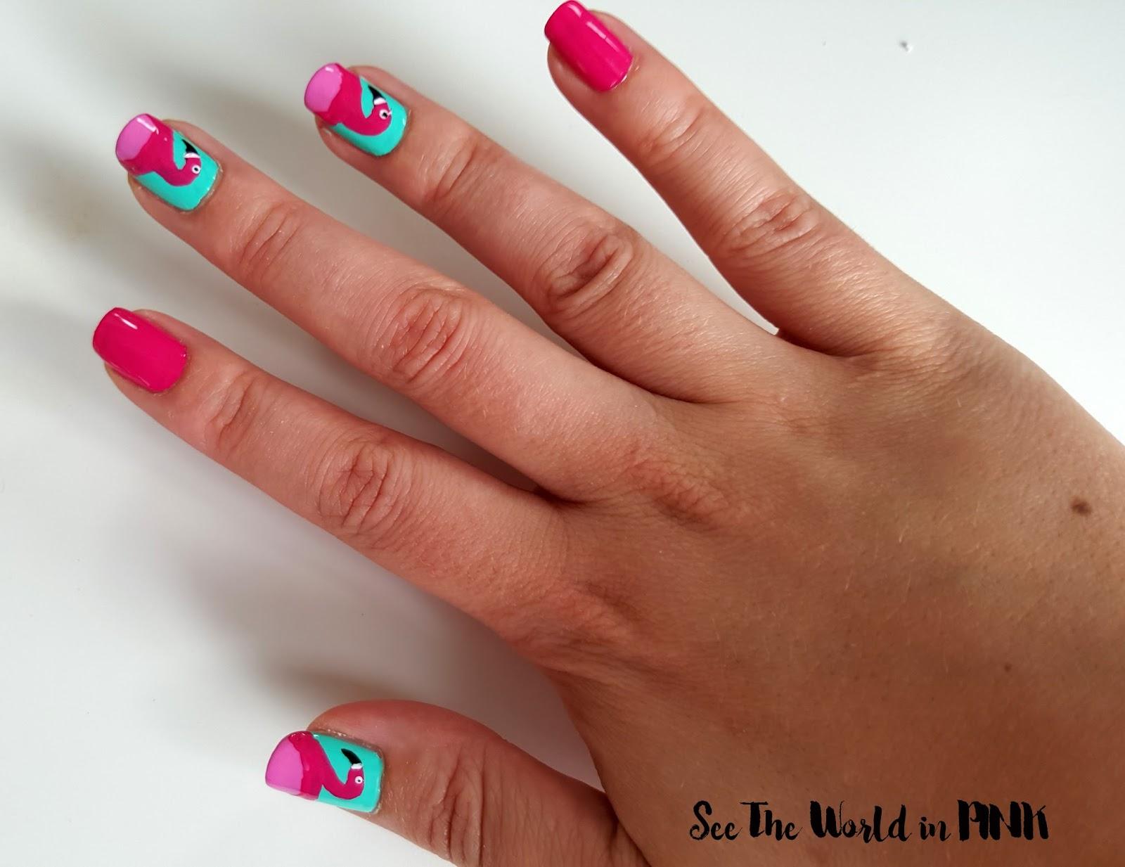 flamingo nail art how to tutorial