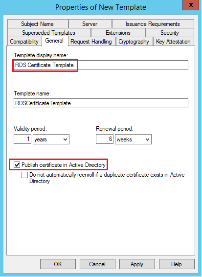 Random notes of a sysadmin windows 2012 r2 rds configure rds on the general tab of the new template change the template display name to rds certificate template and mark the checkbox to publish the certificate in yadclub Choice Image