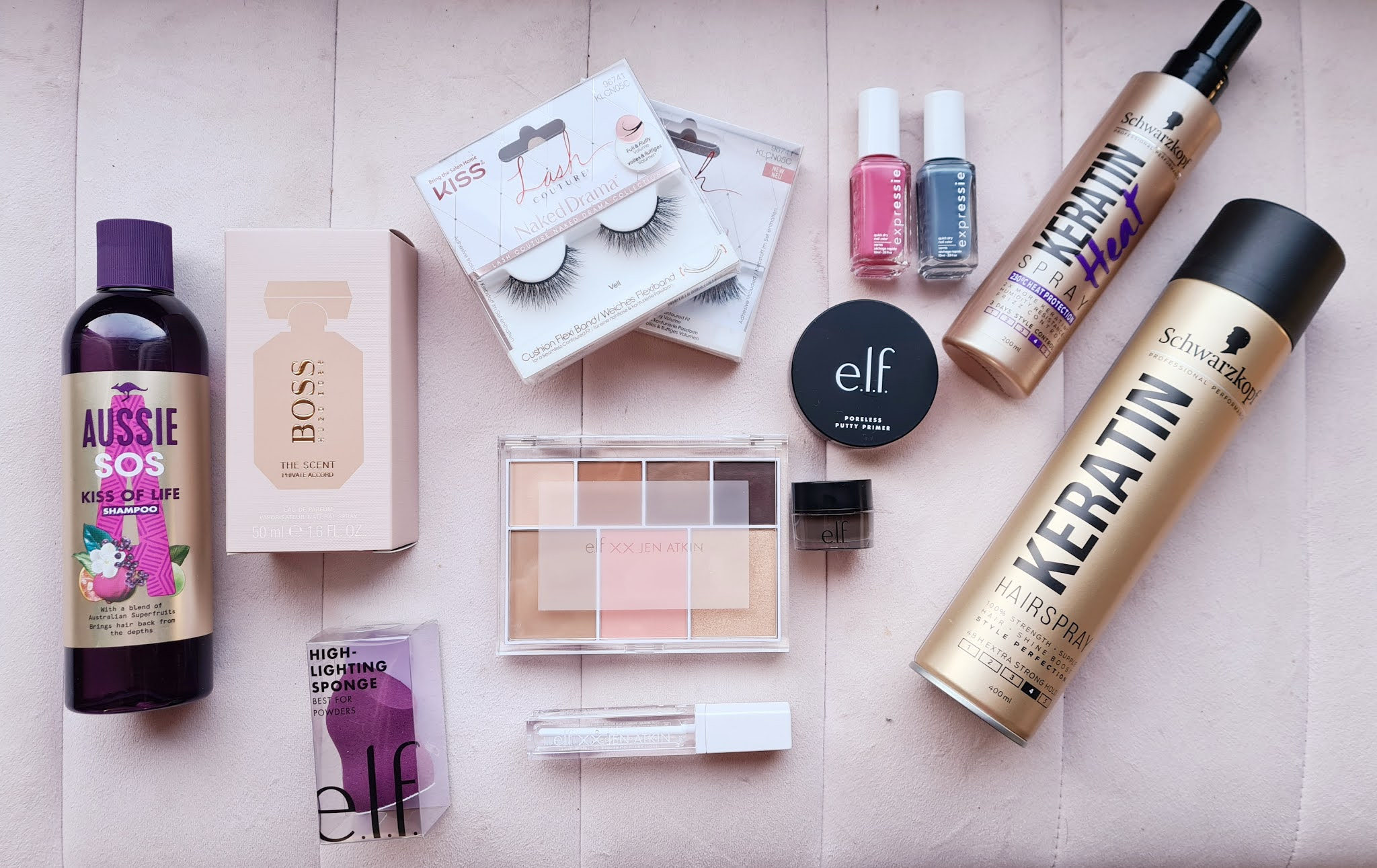 Affordable drugstore beauty haul boots superdrug e.l.f jen atkin aussie kiss salon lashes