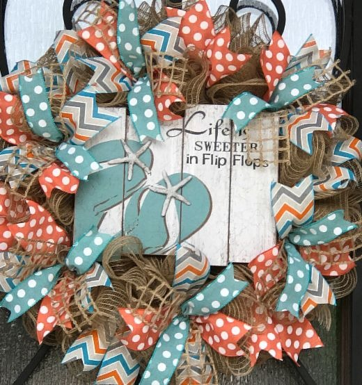 Coastal Summer Wreath with Flip Flop Sign