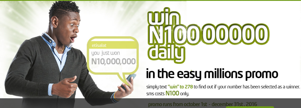 e59de6293457 The Etisalat Easy millions promo has kicked off on 26th of October 2016 and  subscribers are cashing out already. The promo is an initiative to reward  both ...
