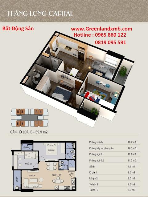 Mặt bằng 3D căn hộ 69,9m2 - căn 2 phòng ngủ và diện tích.