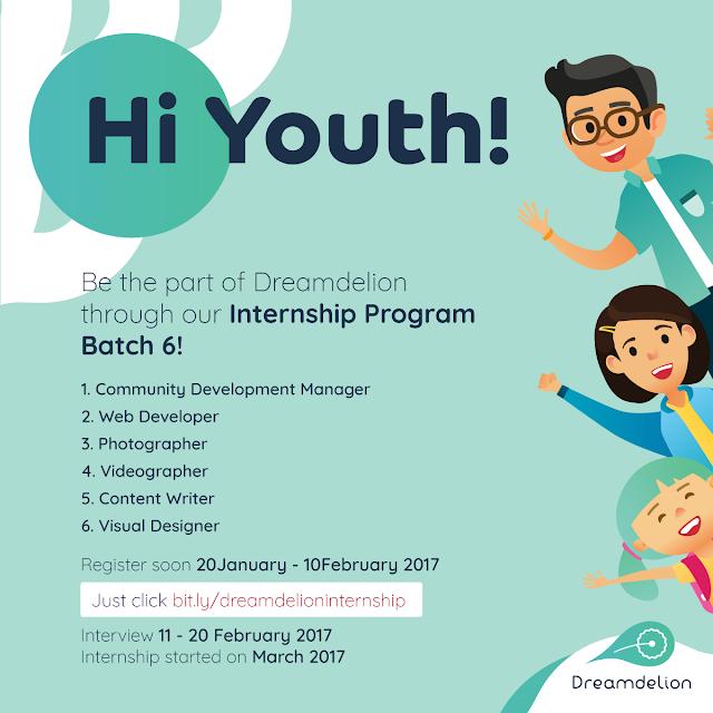 Lowongan Magang: Internsip Program Batch 6 Dreamdelion Februari 2017