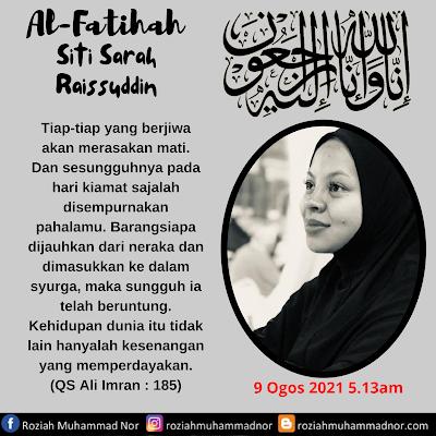 Siti Sarah Raissuddin Meninggal Dunia
