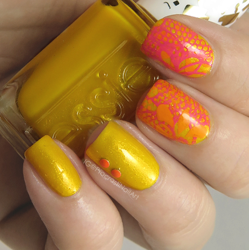 Nail Art Yellow Orange And Pink Stamping For When Colors Collide