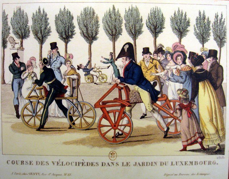 Jardines de Luxemburgo. Une Course de Vélocipèdes au Jardin du Luxembourg. 1818