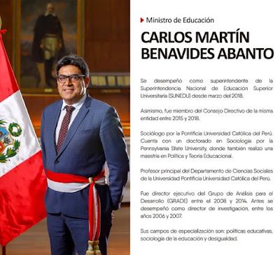 Carlos Martín Benavides, nuevo ministro de Educación