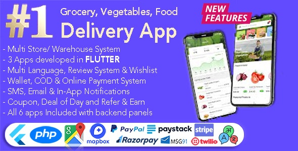 Grocery and Vegetable Delivery Android App with Admin Panel v1.6.11 - Multi-Store with 3 Apps