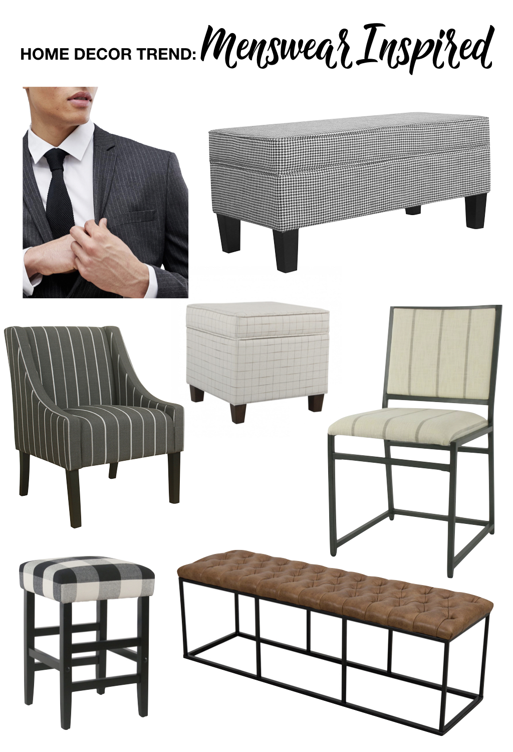 fall home decor trends | menswear inspired home decor | windowpane ottoman, pinstripe armchair