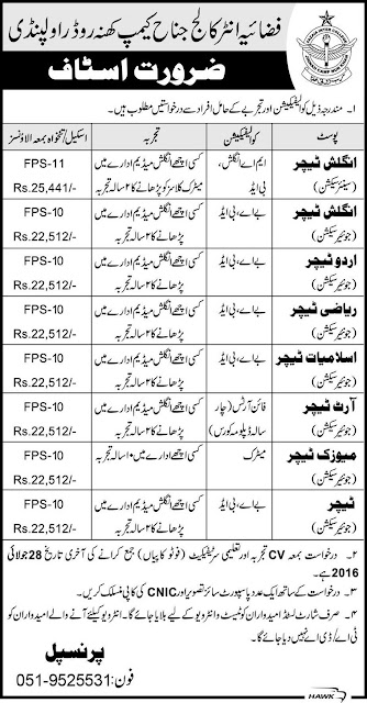 Teachers Jobs in Fazaia Inter College Rawalpindi Jobs in Pakistan for Teachers