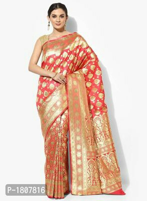 Peach Jacquard Banarasi Silk Saree with Blouse piece