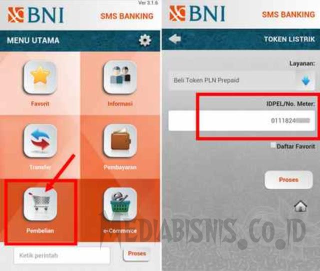 beli token listrik via sms banking bni