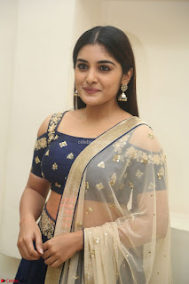 Niveda Thomas in Lovely Blue Cold Shoulder Ghagra Choli Transparent Chunni ~  Exclusive Celebrities Galleries 015