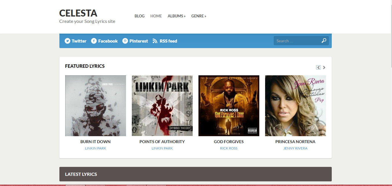 Celesta free premium song lyrics wordpress theme