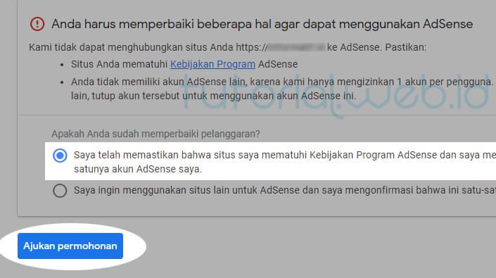 Cara Menghapus Akun Adsense pada gmail 8 Ajukan Permohonan