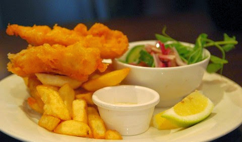 Crispy Battered Fish with Chips and Salad