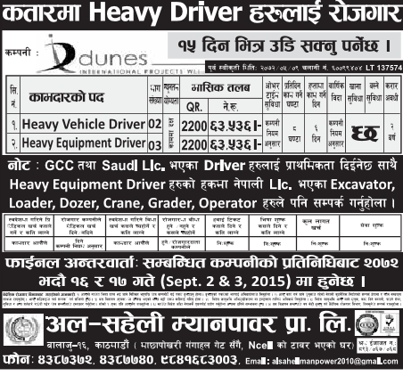 Job Vacancy for Heavy Drivers in Qatar, Salary Rs 63,536