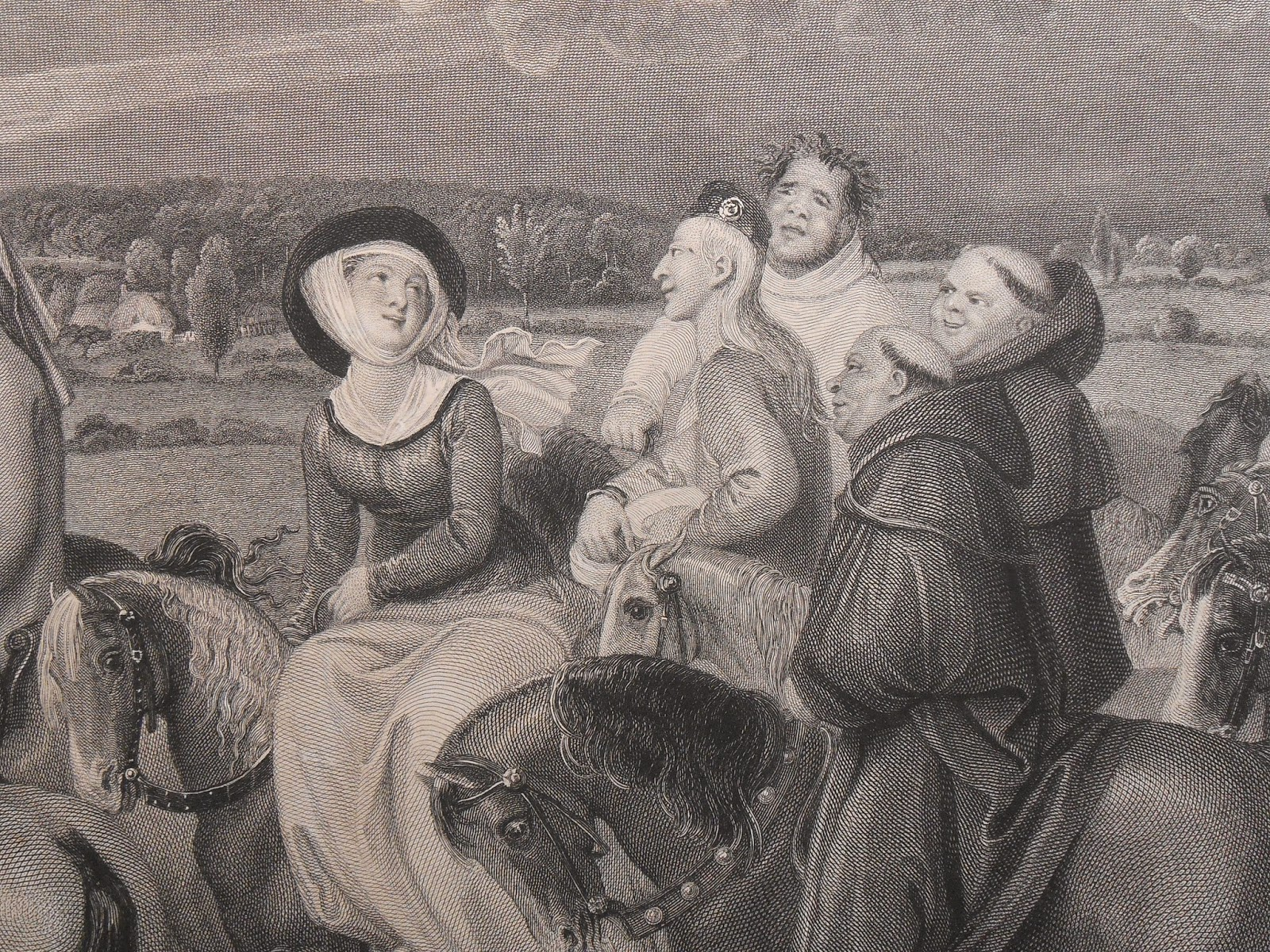 A detailed illustration of a young woman on horseback, smiling at the sky. Around her are male pilgrims on horseback, all lowering at her to varying degrees.