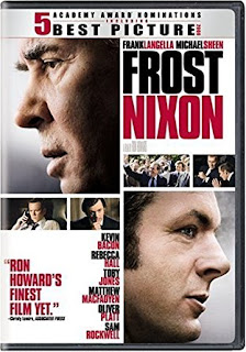 """A DVD cover of """"Frost/Nixon."""" Text reads """"Ron Howard's finest film yet."""""""