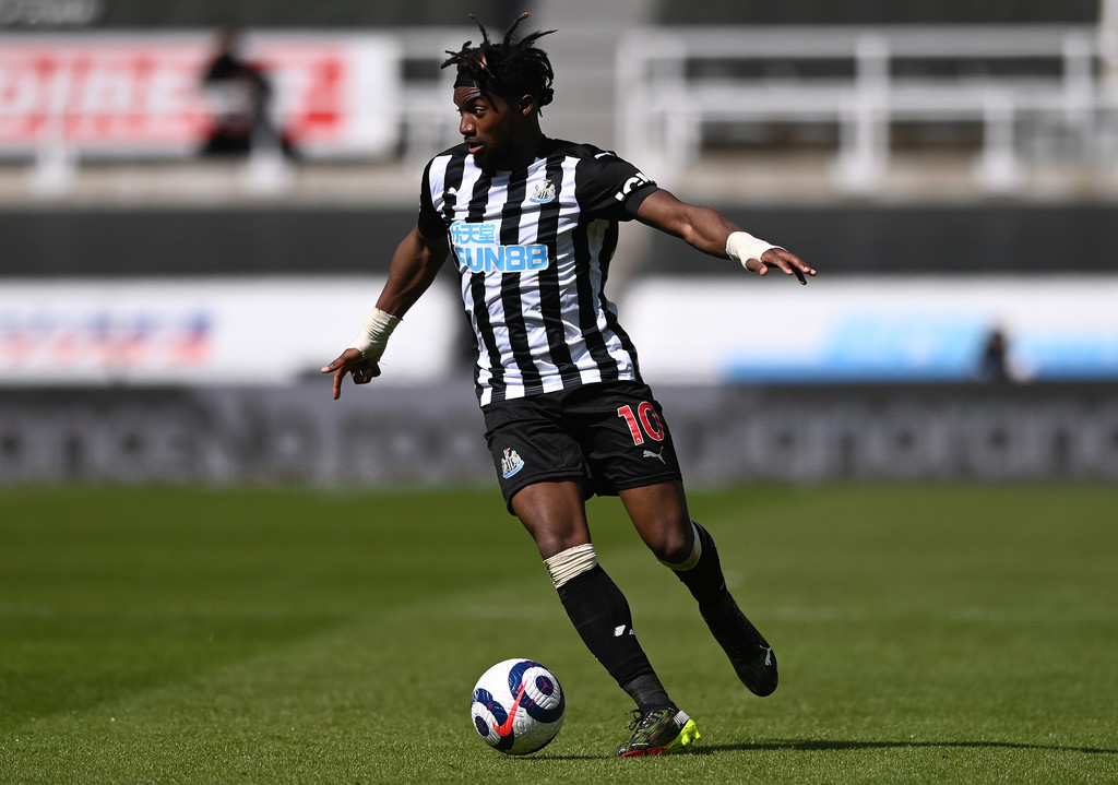 Newcastle player Allan Saint-Maximin in action during the Premier League match between Newcastle United and West Ham United at St. James Park on April 17, 2021 in Newcastle upon Tyne, England