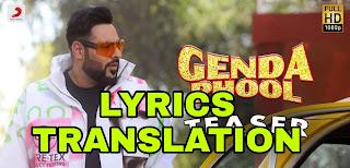 Genda Phool Lyrics | Translation | in English/Hindi  - Badshah