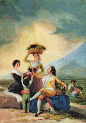 Postal de Museo del Prado, La Vendimia, Goya. Editorial Savir.