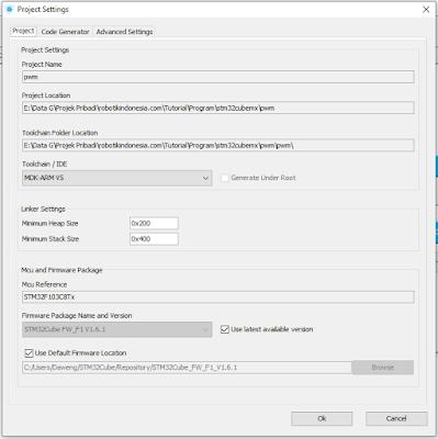 PWM pada STM32F103C8T6 Menggunakan STM32CubeMX   Keil Uvision