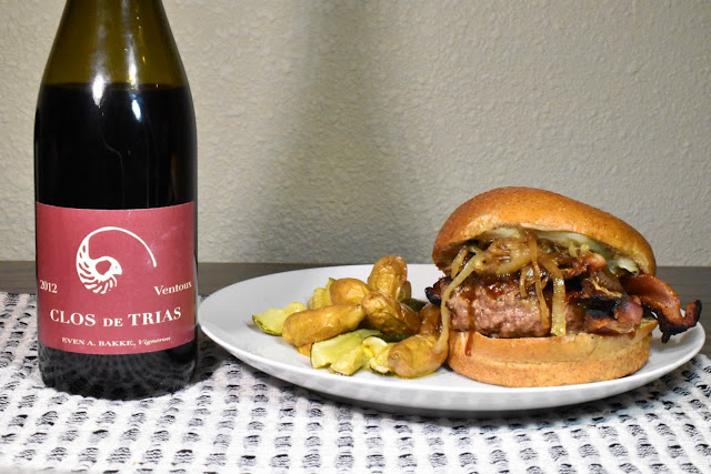 Clos de Trias Ventoux with Bacon-Cheddar-Teriyaki Burger. Recipe by Nicole Ruiz Hudson. Photo by Greg Hudson.