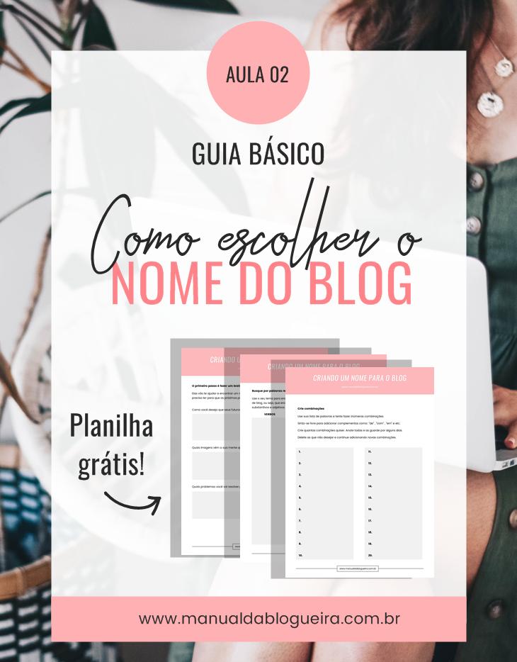 escolher o nome do blog