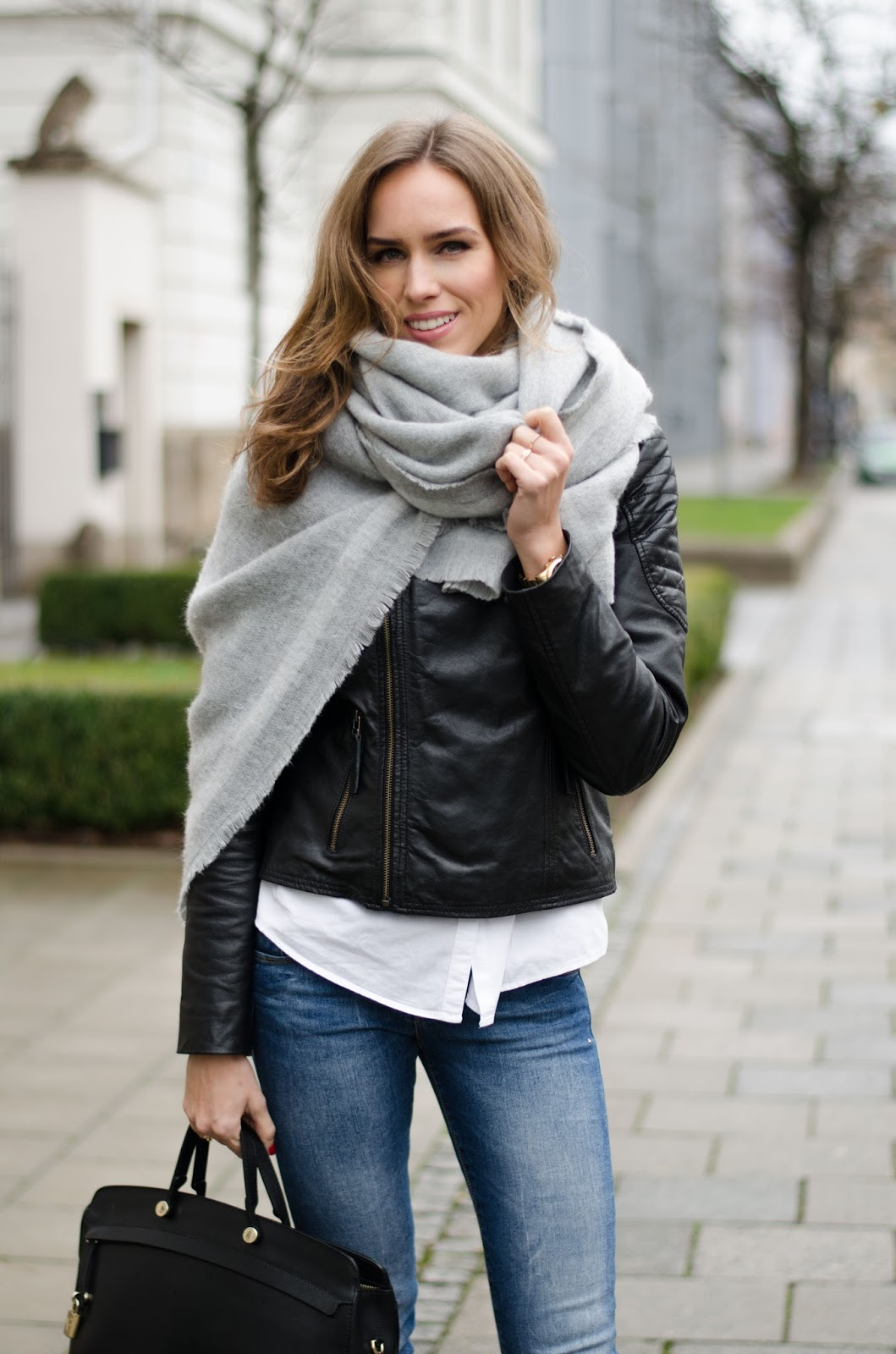 kristjaana mere zara oversized gray wool scarf barneys leather jacket