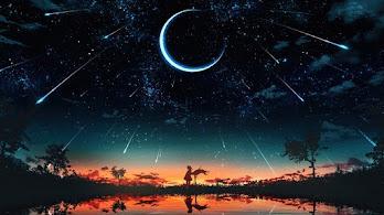 Sunset, Starry, Night, Sky, Moon, Stars, Anime, Scenery, 4K, #6.2615