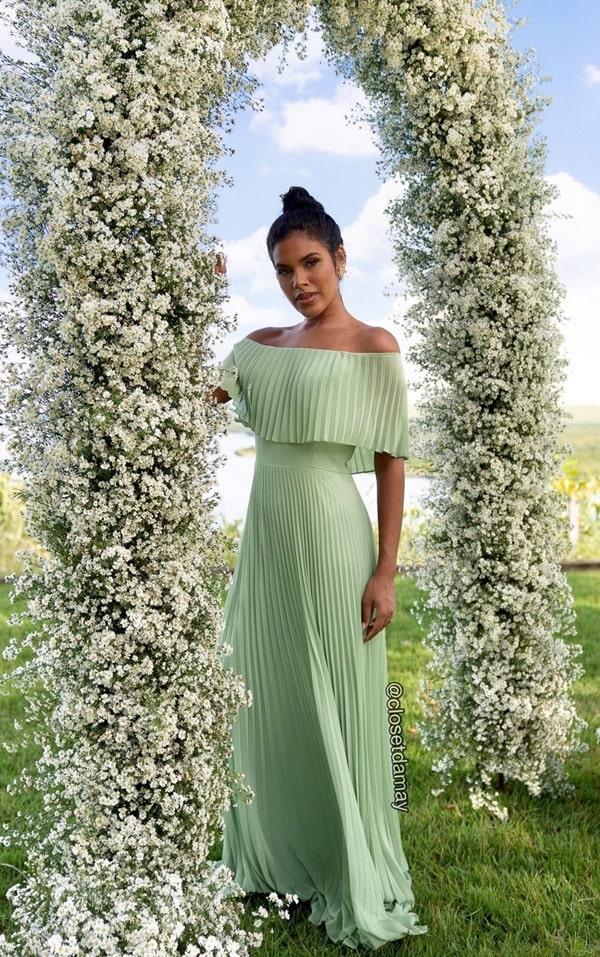 vestido longo verde menta plissado para madrinha de casamento