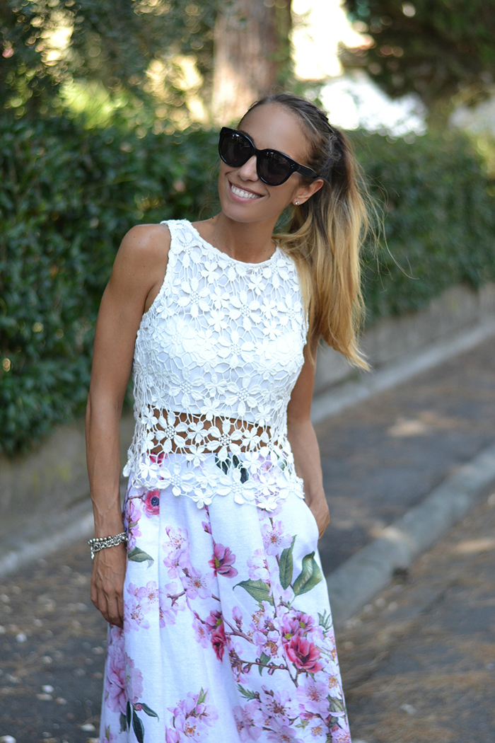 lace top floral skirt