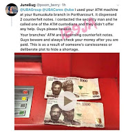 Lady Calls Out UBA After An ATM Dispensed Two Fake N1k Notes To Her In Rivers