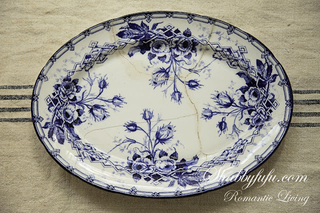 antique french platter blue