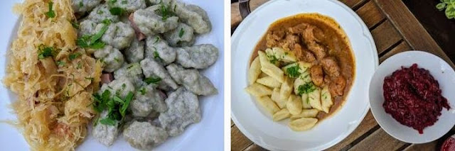 What to eat in Poznan: grey potato dumplings and pork goulash