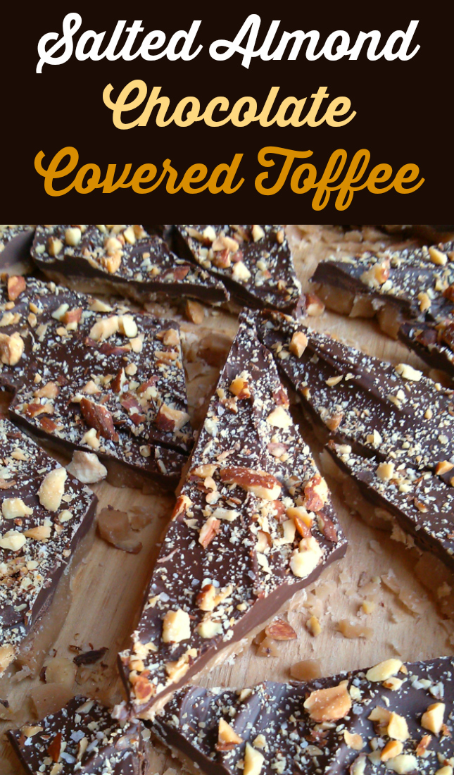 An easy, no-fail English toffee recipe topped with chocolate, almonds and coarse-grain salt.
