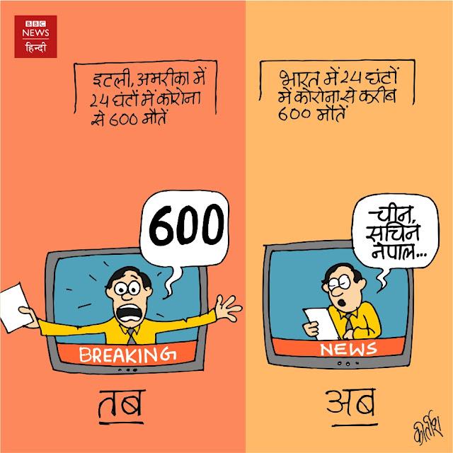 corona, Corona Cartoon, Covid 19, कोरोना, china, Media cartoon, news channel cartoon, cartoonist kirtish bhatt