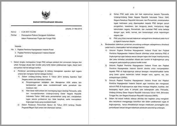 Surat Kepala BKN tentang Larangan Ujaran Kebencian di Kalangan PNS ASN