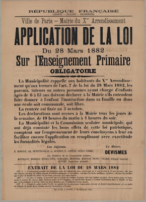 affiche application de la loi enseignement primaire obligatoire (c) Min de l'Éducation nationale