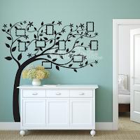 vinilo decorativo pared arbol al viento con marcos para fotos, arbol genealogico, arbol de la vida