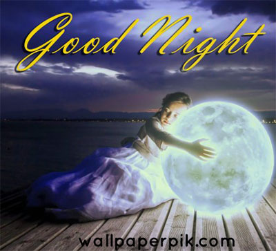 moon on earth with girl  good night images wallpaper download