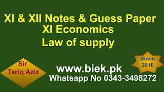 XI Economics Law of supply www.biek.pk