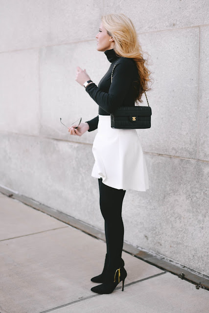 how to style a white skirt in the winter