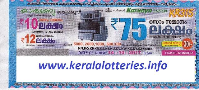 Kerala Lottery Result KARUNYA (KR-315) October 14, 2017